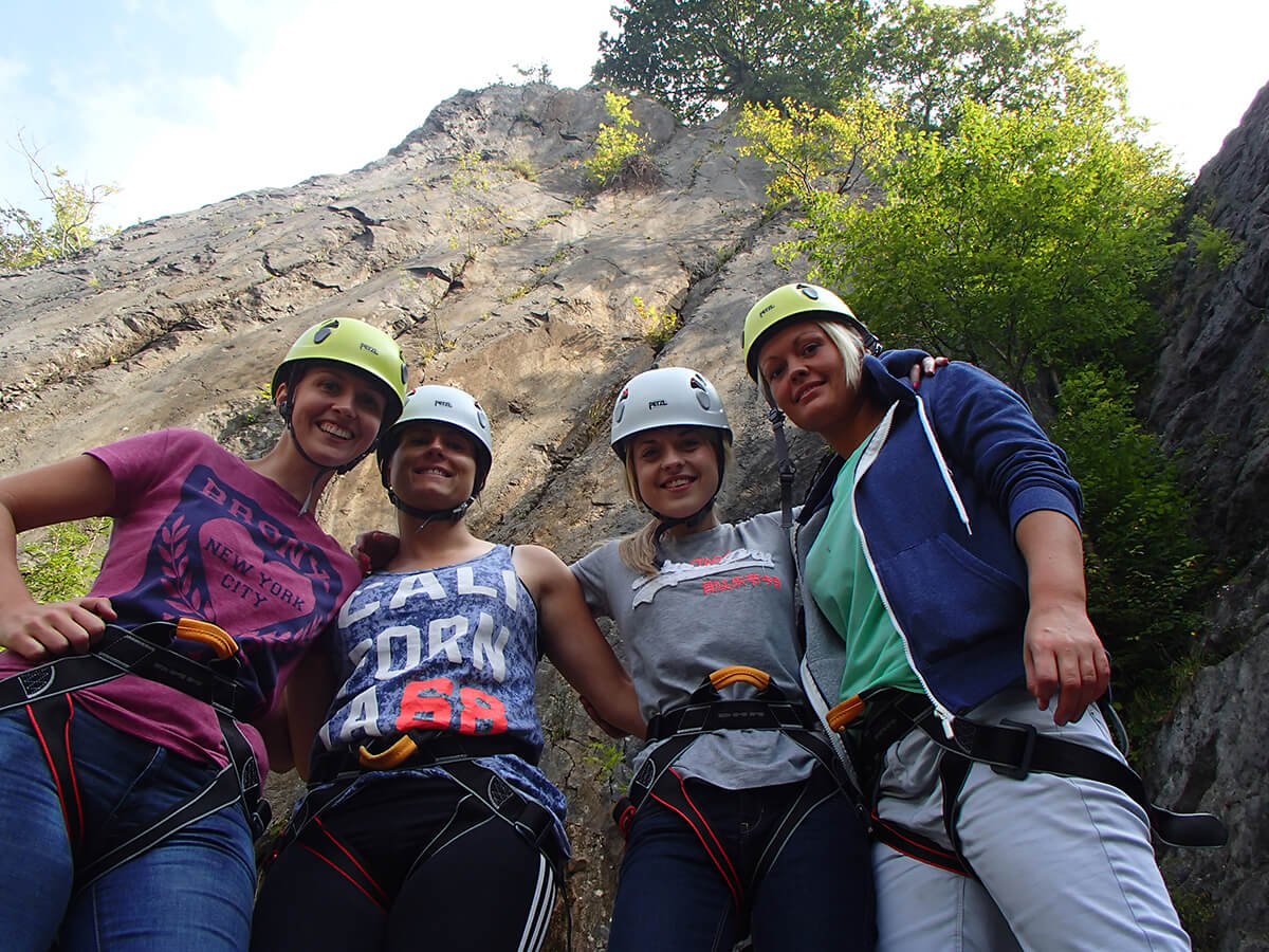 Abseiling group photo