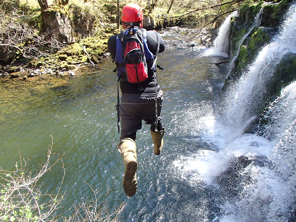 Big Jump while canyoning