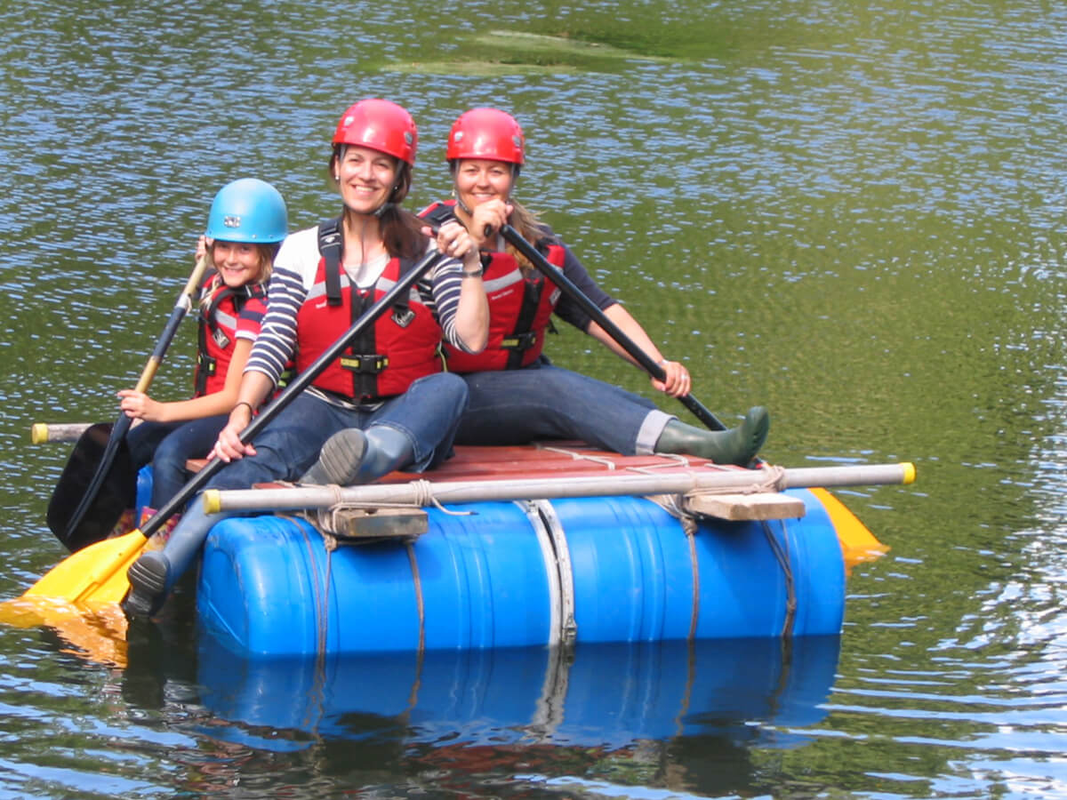 A happy Family Raft Building