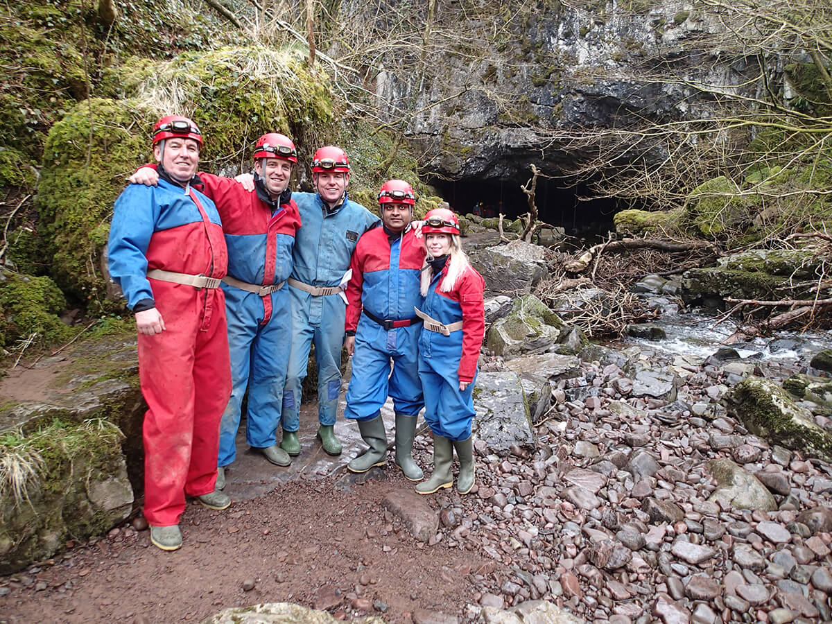 Group of friends going caving