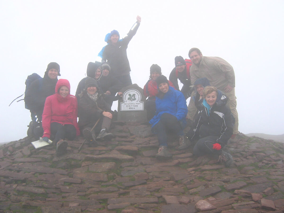 A group at the top of Pen Y Fan
