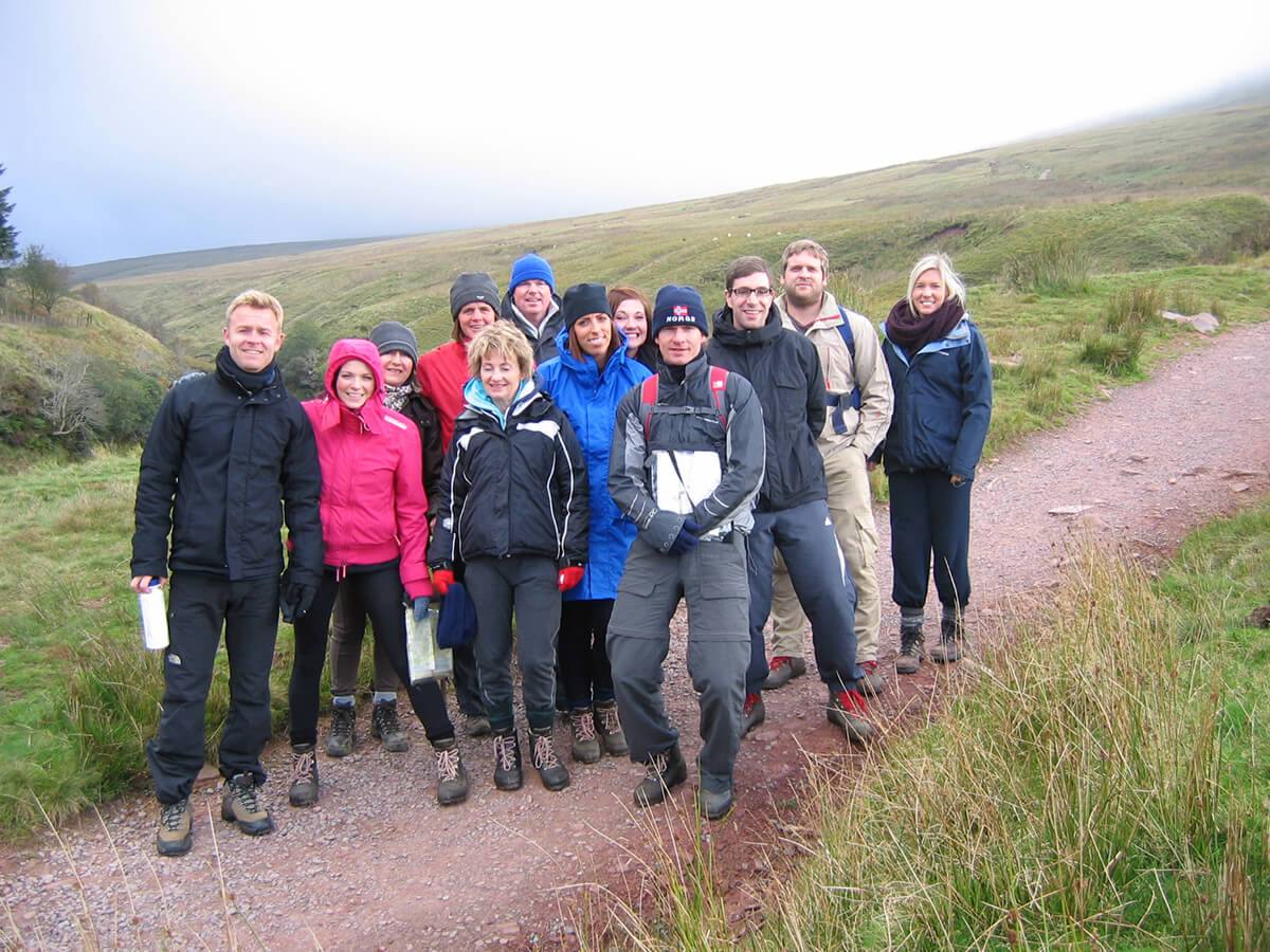 A group at the start of their Guided Walk up Pen Y Fan